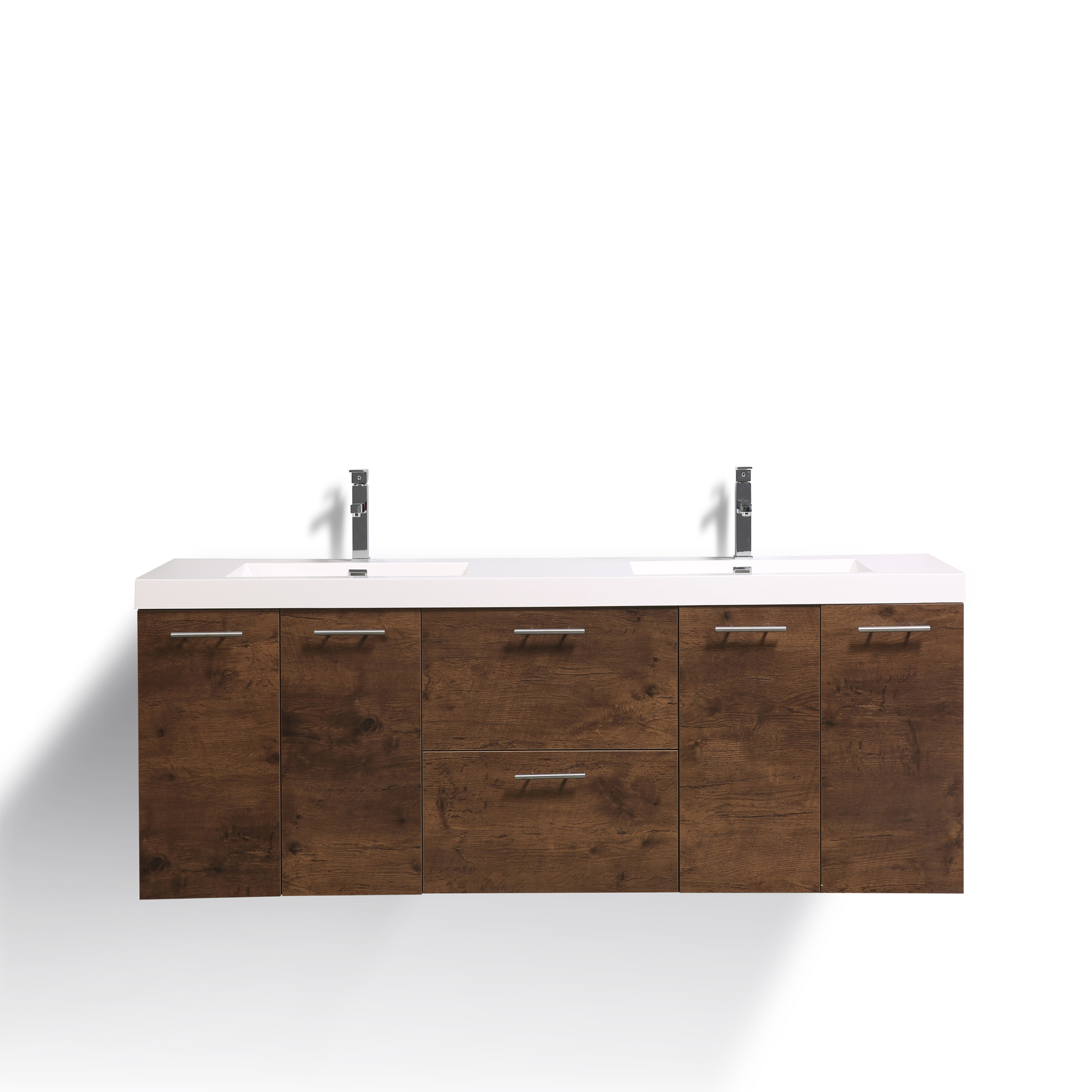 EVVN2100 84RSWD DS A Main - Eviva Luxury 84 inch Rosewood bathroom vanity with integrated acrylic sinks