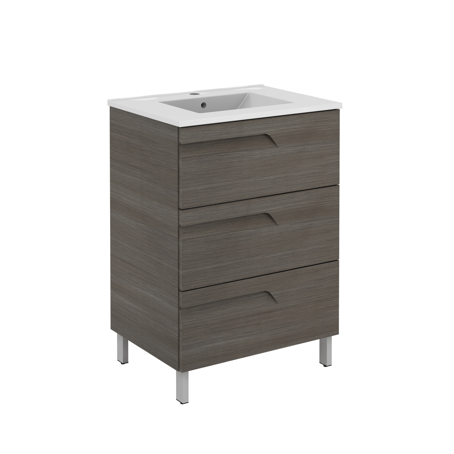 "EVVN23 39ASH A Main - Eviva Vitta 39"" Ashy Modern Bathroom Vanity with White Integrated Porcelain Sink"