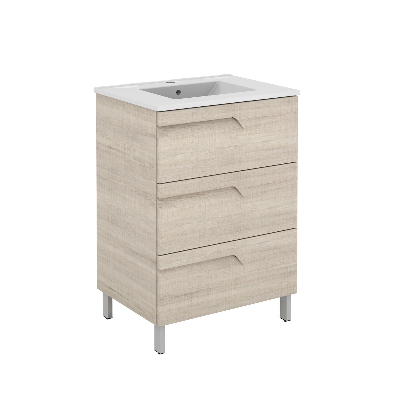 "EVVN23 39MP A Main - Eviva Vitta 39"" Maple Modern Bathroom Vanity with White Integrated Porcelain Sink"