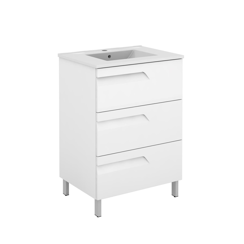 "EVVN23 39WH A Main - Eviva Vitta 39"" White Modern Bathroom Vanity with White Integrated Porcelain Sink"