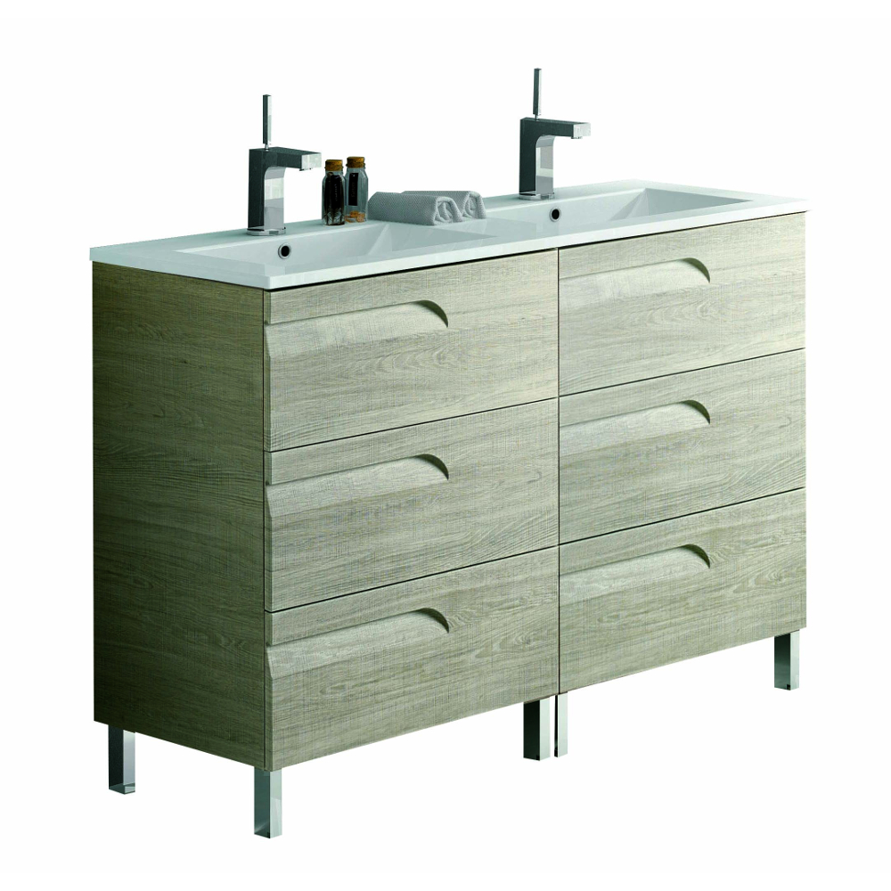 "EVVN23 48MP DS Vitale A Main - Eviva Vitta 48"" Maple Modern Bathroom Vanity with White Integrated Porcelain Sink"