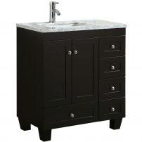 "EVVN30 30X18ES A 01 202x202 - Eviva Happy  30"" x 18"" Transitional Espresso Bathroom Vanity with white carrara marble counter-top"