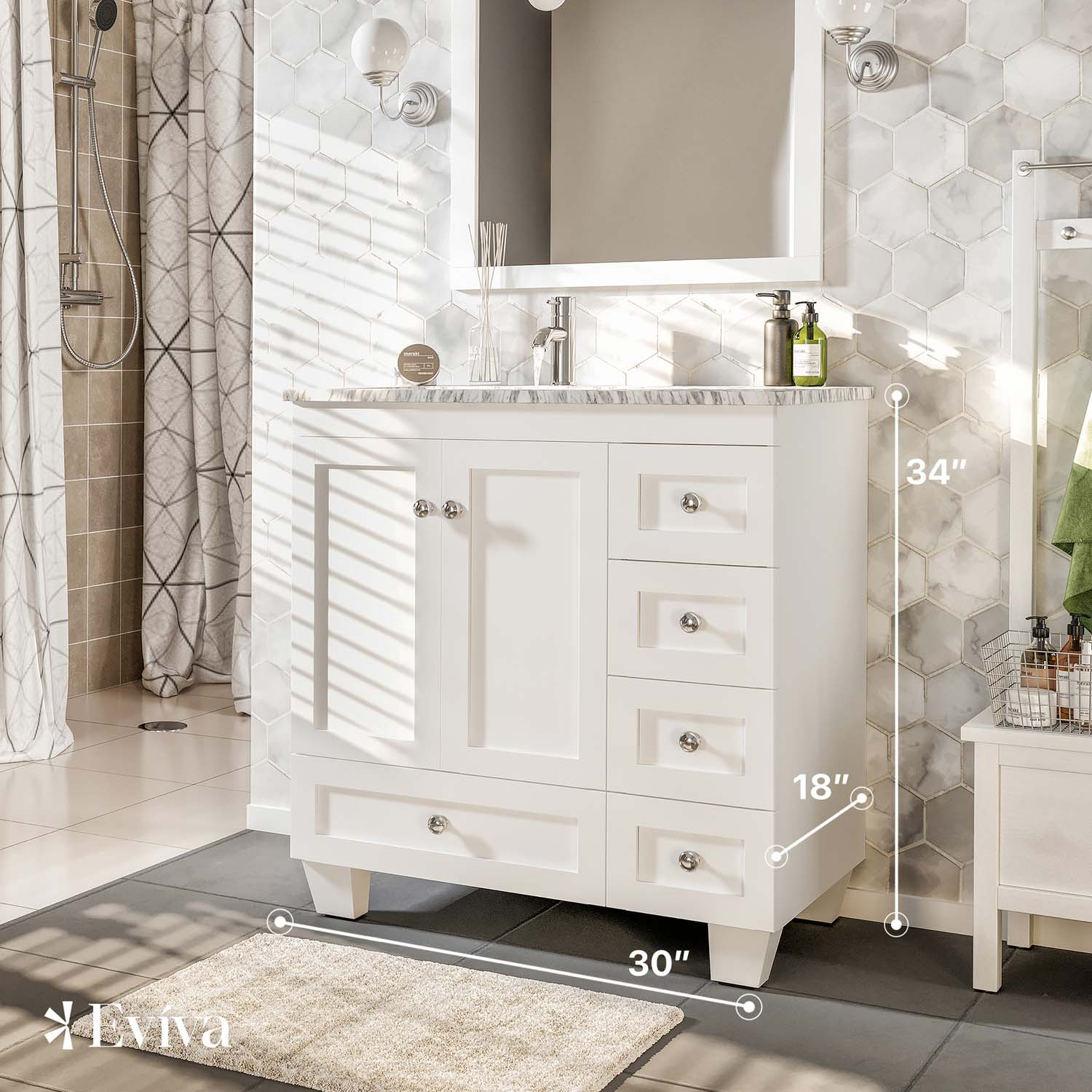 Eviva Happy 30 X 18 Transitional White Bathroom Vanity With White Carrera Marble Counter Top