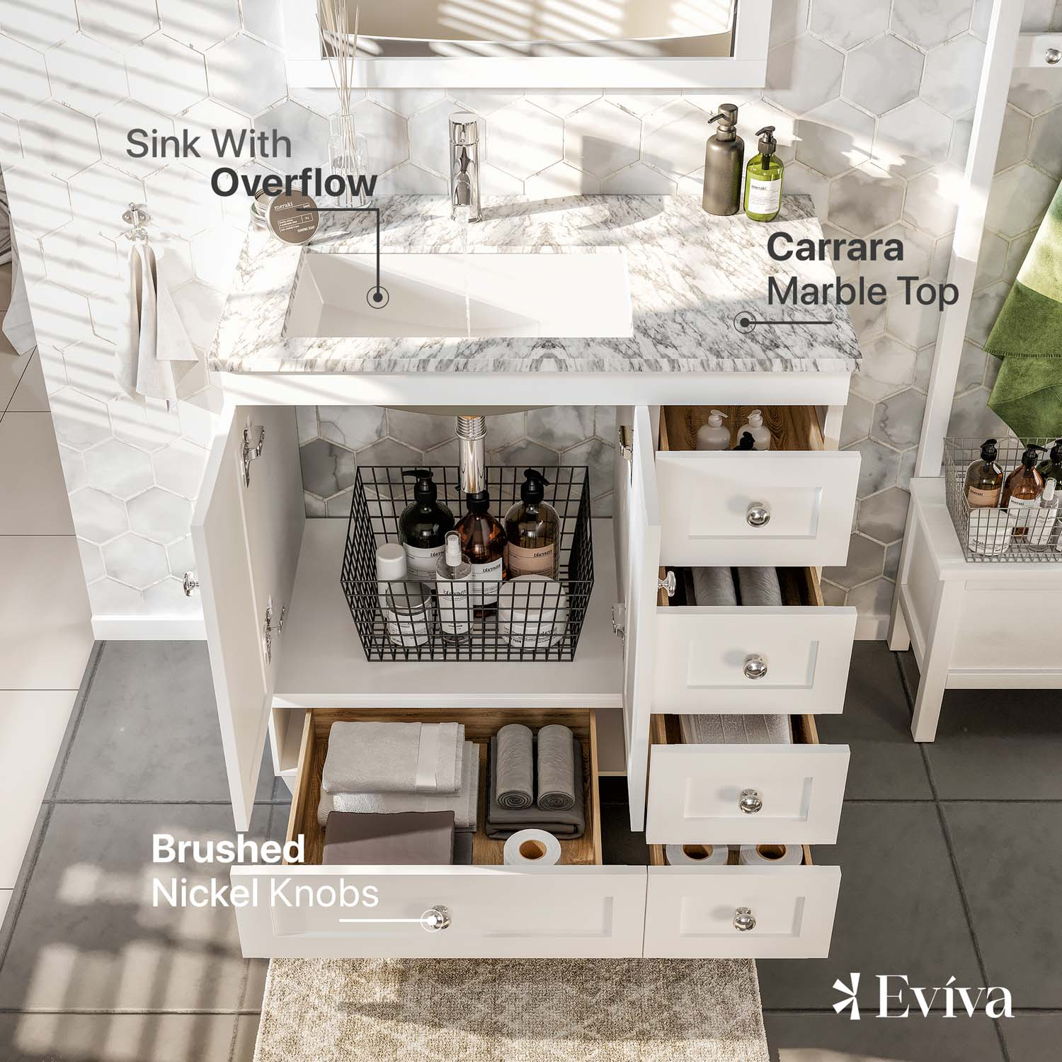 72a26ffa92b ... Transitional White Bathroom Vanity with white carrera marble counter-top.  EVVN30-30X18WH A Main. Touch to zoom · EVVN30-30X18WH A 01  EVVN30-30X18WH A 02 ...