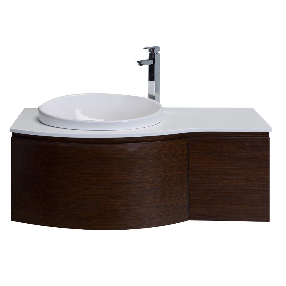 eviva curvy 48 iron wood modern bathroom vanity wall