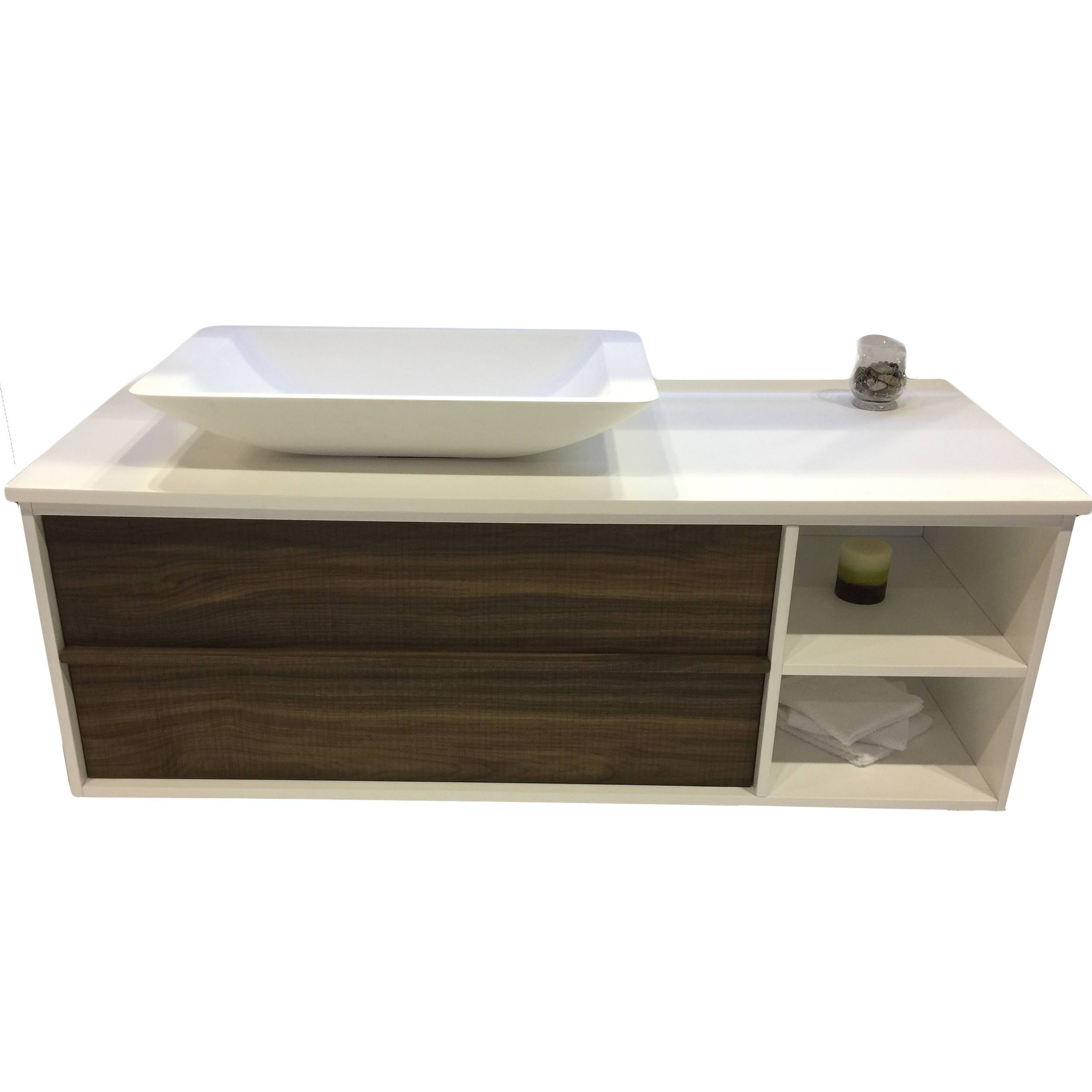 Eviva Lava 46 Walnut Wall Mount Bathroom Vanity With White Solid