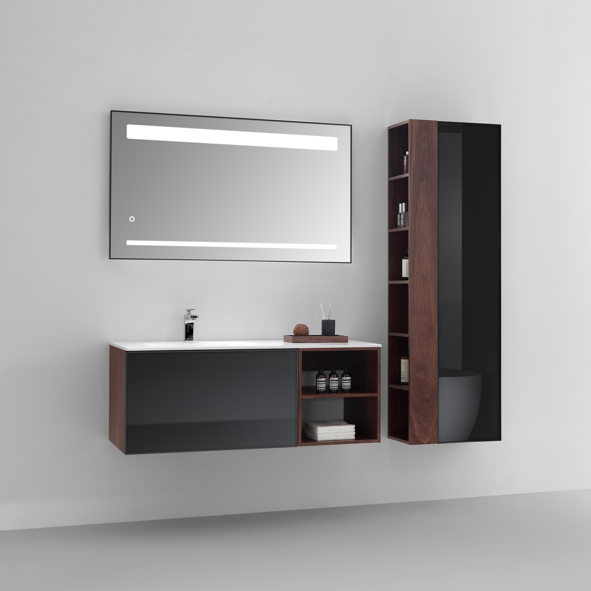 vanity white bathroom black cabinets mount bathrooms slim cabinet wall brown tall mounted inspirational design of grey