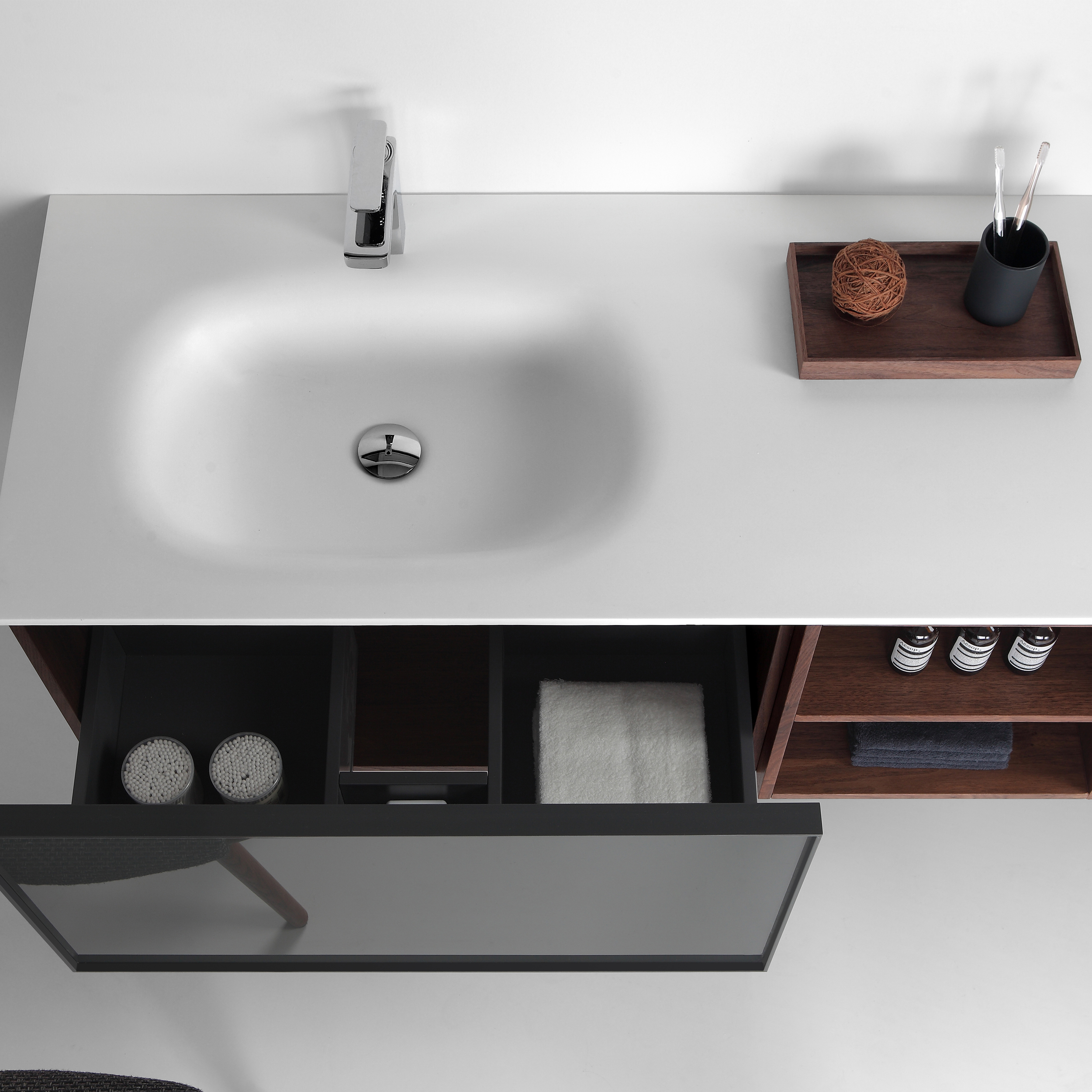 Eviva Napa 48u2033 Grey And Walnut Wall Mount Bathroom Vanity With White  Integrated Solid Surface Sink