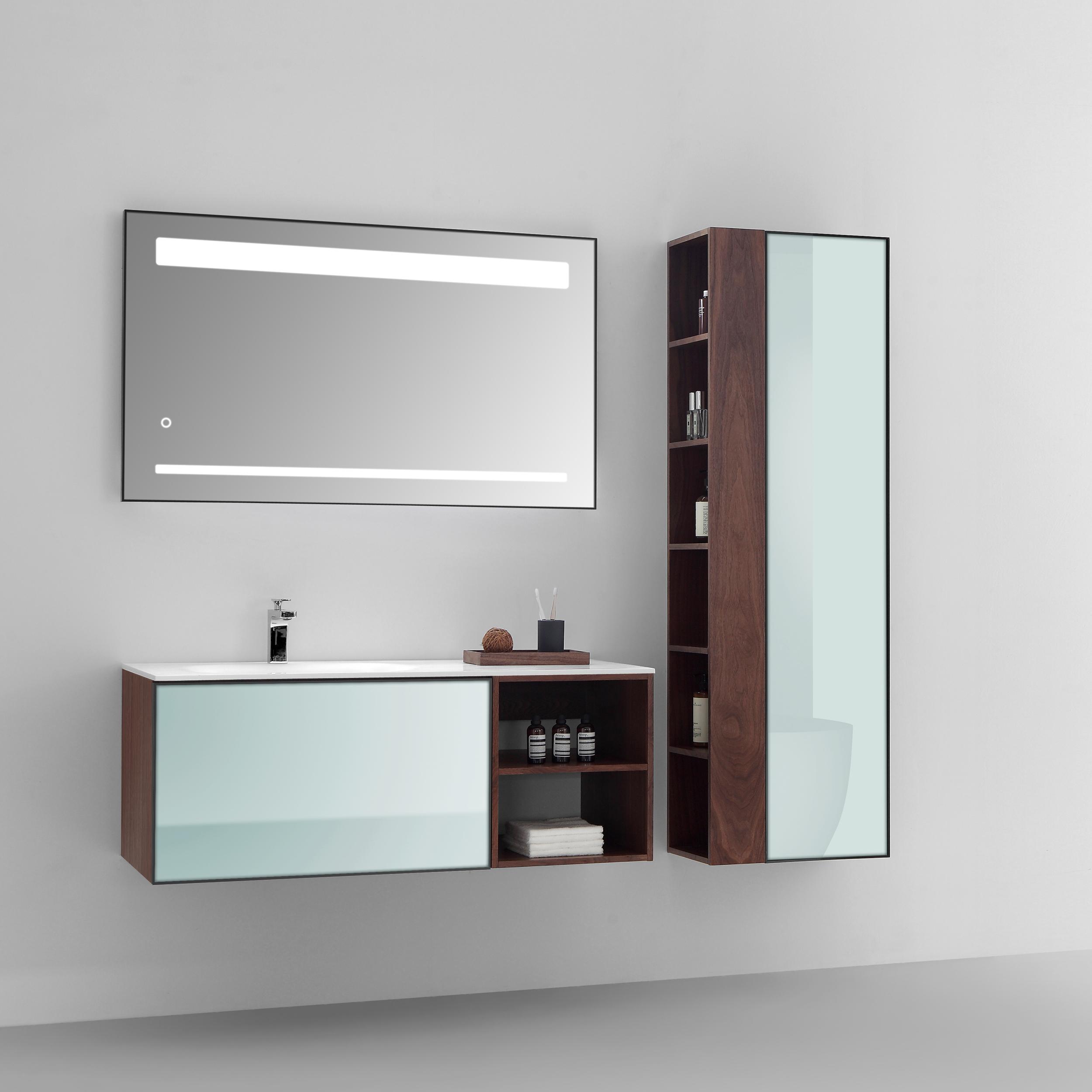Eviva Napa 48 inch White and Walnut Wall Mount Bathroom Vanity