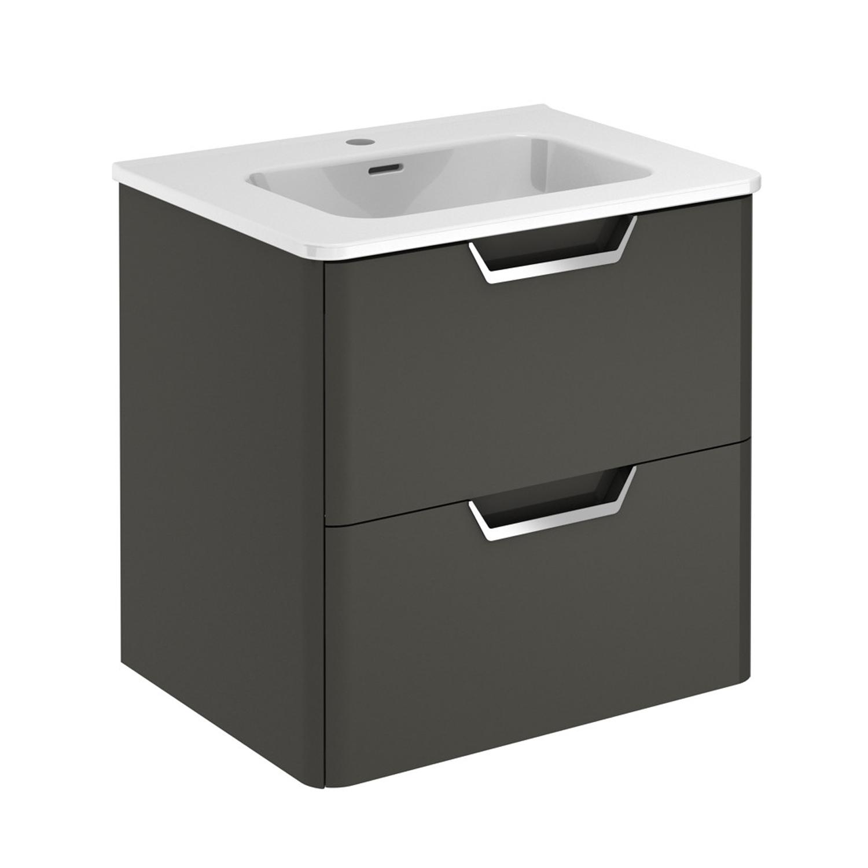 "EVVN34 24GR WM A Main - Eviva Hayat 24"" Gray Modern Wallmount Bathroom Vanity with White Integrated Porcelain Sink"