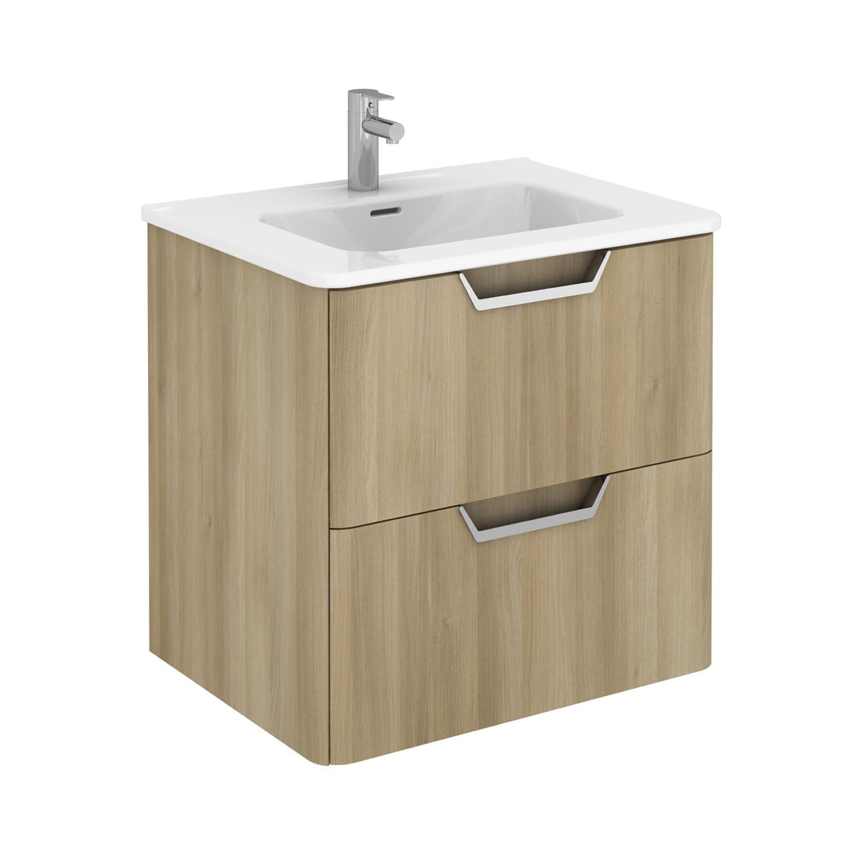 "EVVN34 24OAK WM A Main - Eviva Hayat 24"" Oak Modern Wallmount Bathroom Vanity with White Integrated Porcelain Sink"