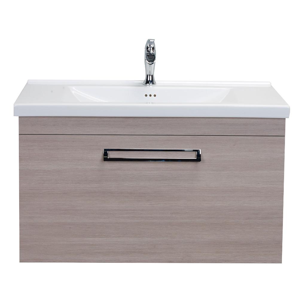 Eviva Orleans 38 Light Oak Modern Bathroom Vanity With White