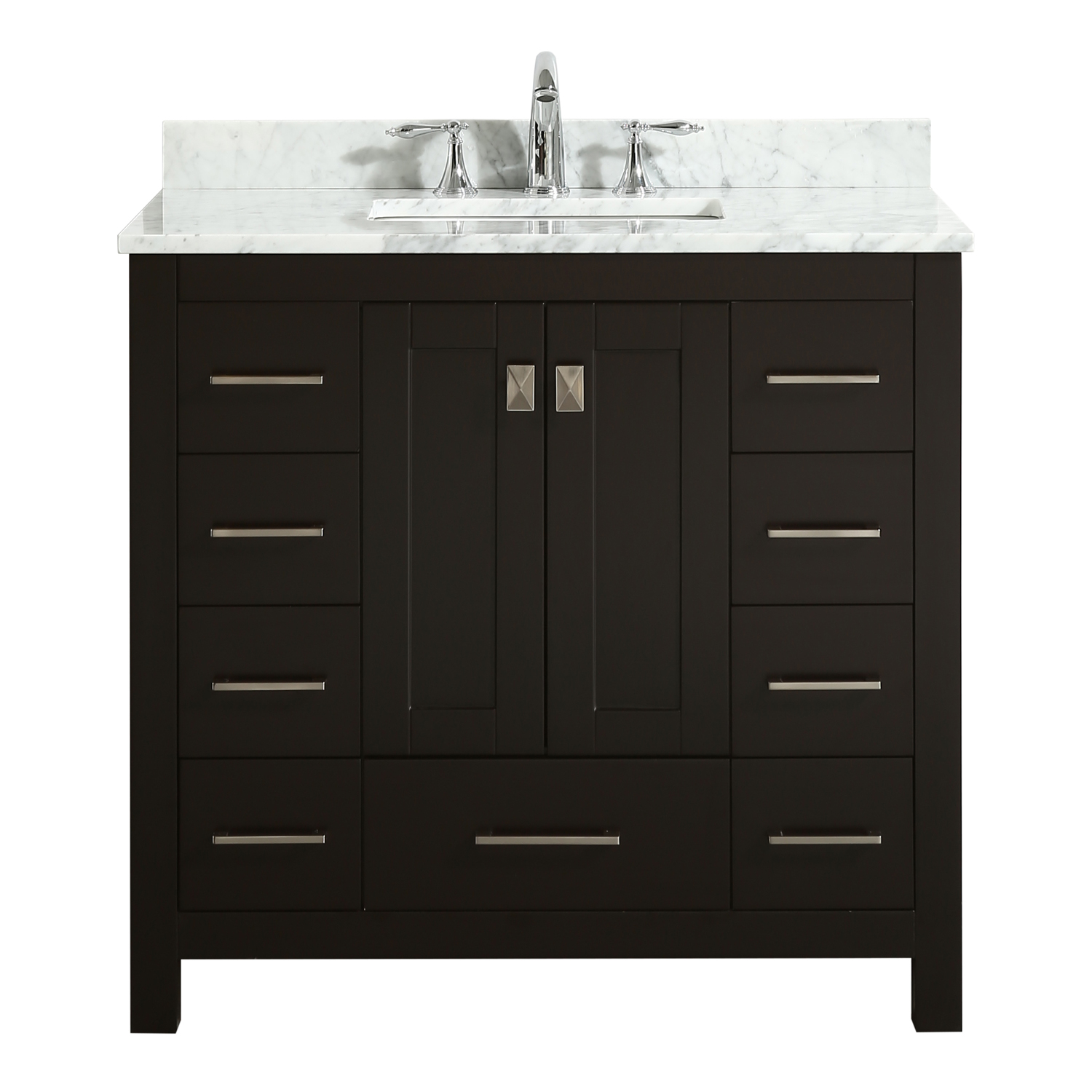 EVVN411 36ES A Main - Eviva Hampton 36 in. Transitional Espresso Bathroom Vanity with White Carrara Countertop and White Undermount  Porcelain Sink