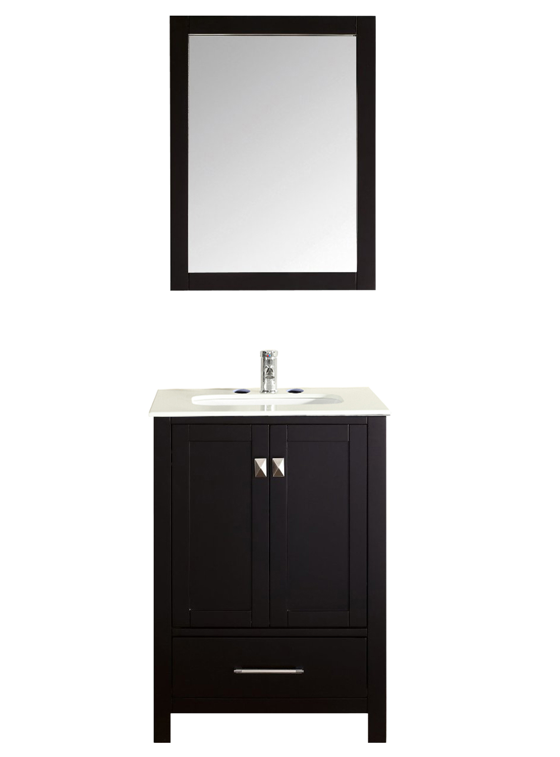 "EVVN412 24ES A Main 1 - Eviva Aberdeen 24"" Transitional Espresso Bathroom Vanity with White Carrera Countertop"
