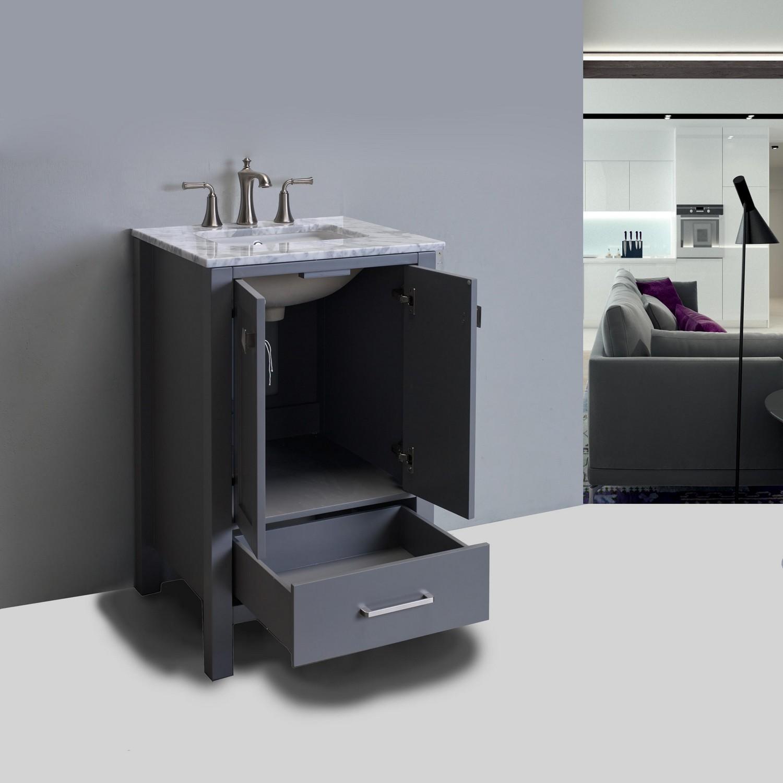 Eviva Aberdeen 24 Quot Transitional Grey Bathroom Vanity