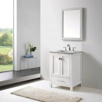 "EVVN412 24WH A 01 202x202 - Eviva Aberdeen 24"" Transitional White Bathroom Vanity with White Carrera Countertop"