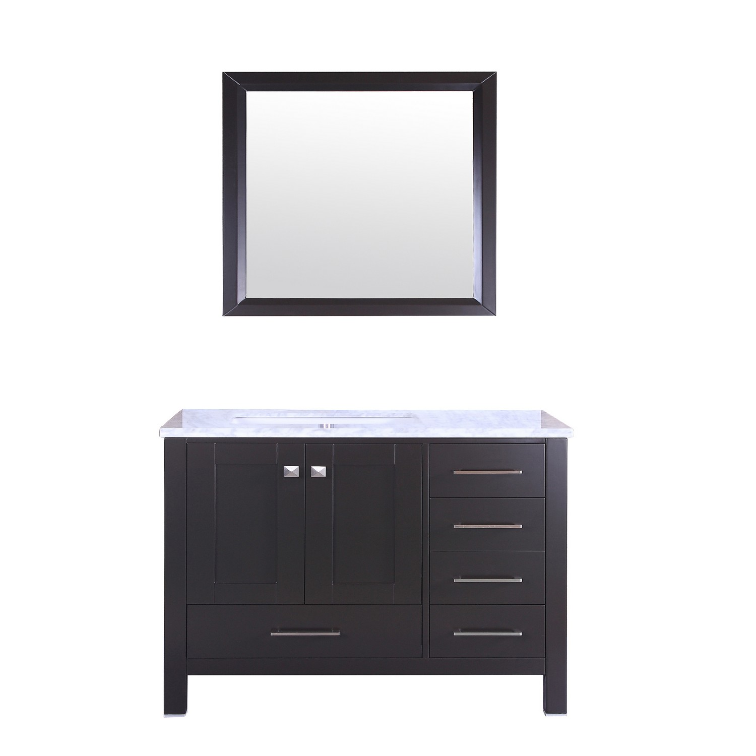 "EVVN412 36ES A Main - Eviva Aberdeen 36"" Transitional Espresso Bathroom Vanity with White Carrera Countertop"