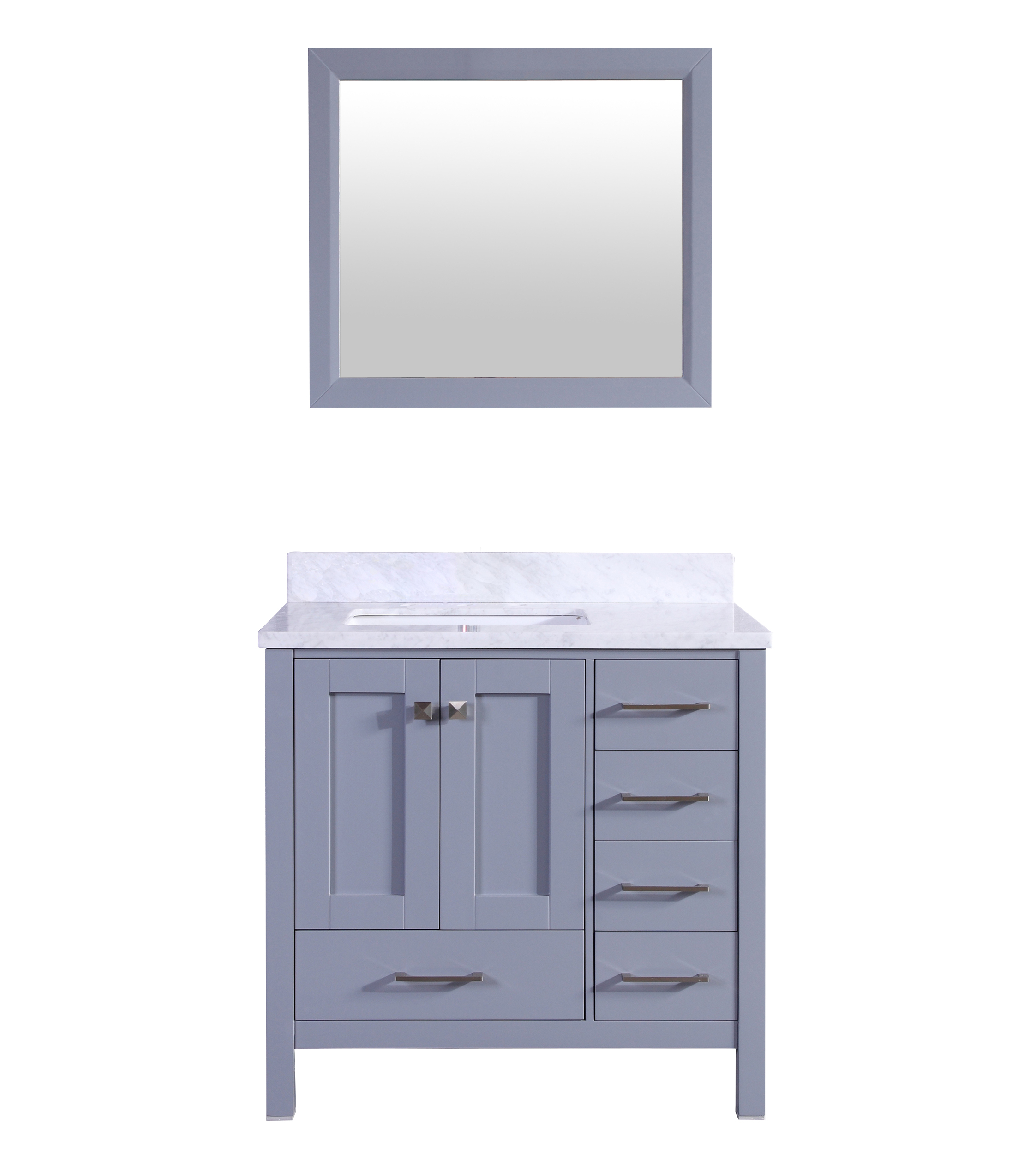 "EVVN412 36GR A Main 2 - Eviva Aberdeen 36"" Transitional Grey Bathroom Vanity with White Carrera Countertop &  Square Sink"