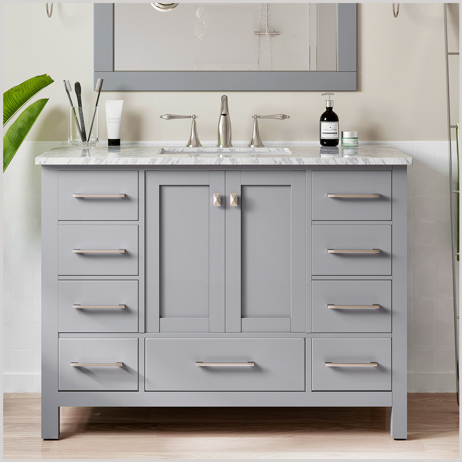 "EVVN412 42GR A Main - Eviva Aberdeen 42"" Transitional Grey Bathroom Vanity with White Carrera Countertop"