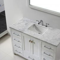 "EVVN412 42WH A 01 202x202 - Eviva Aberdeen 42"" Transitional White Bathroom Vanity with White Carrera Countertop"