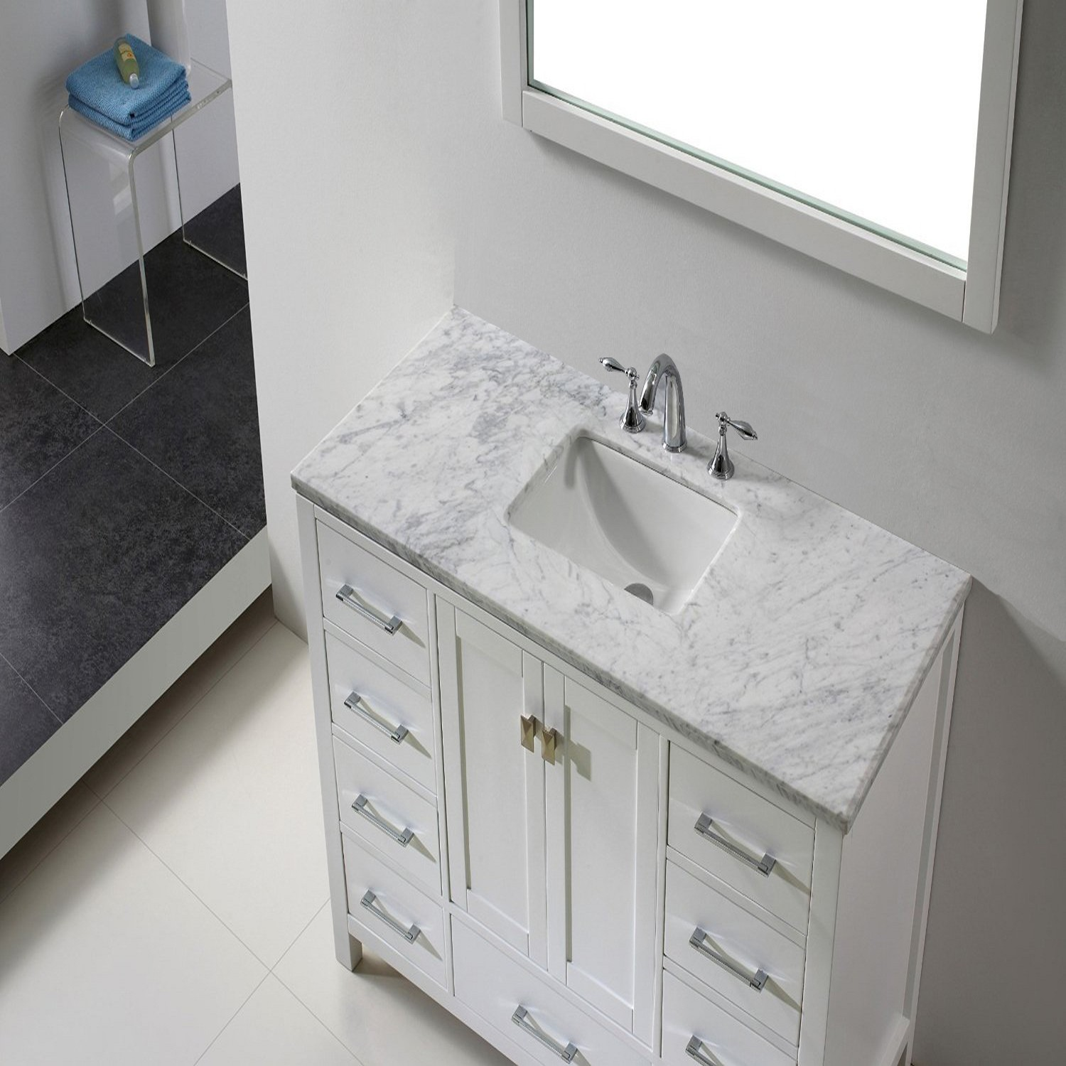 "Eviva Aberdeen 42"" Transitional White Bathroom Vanity"