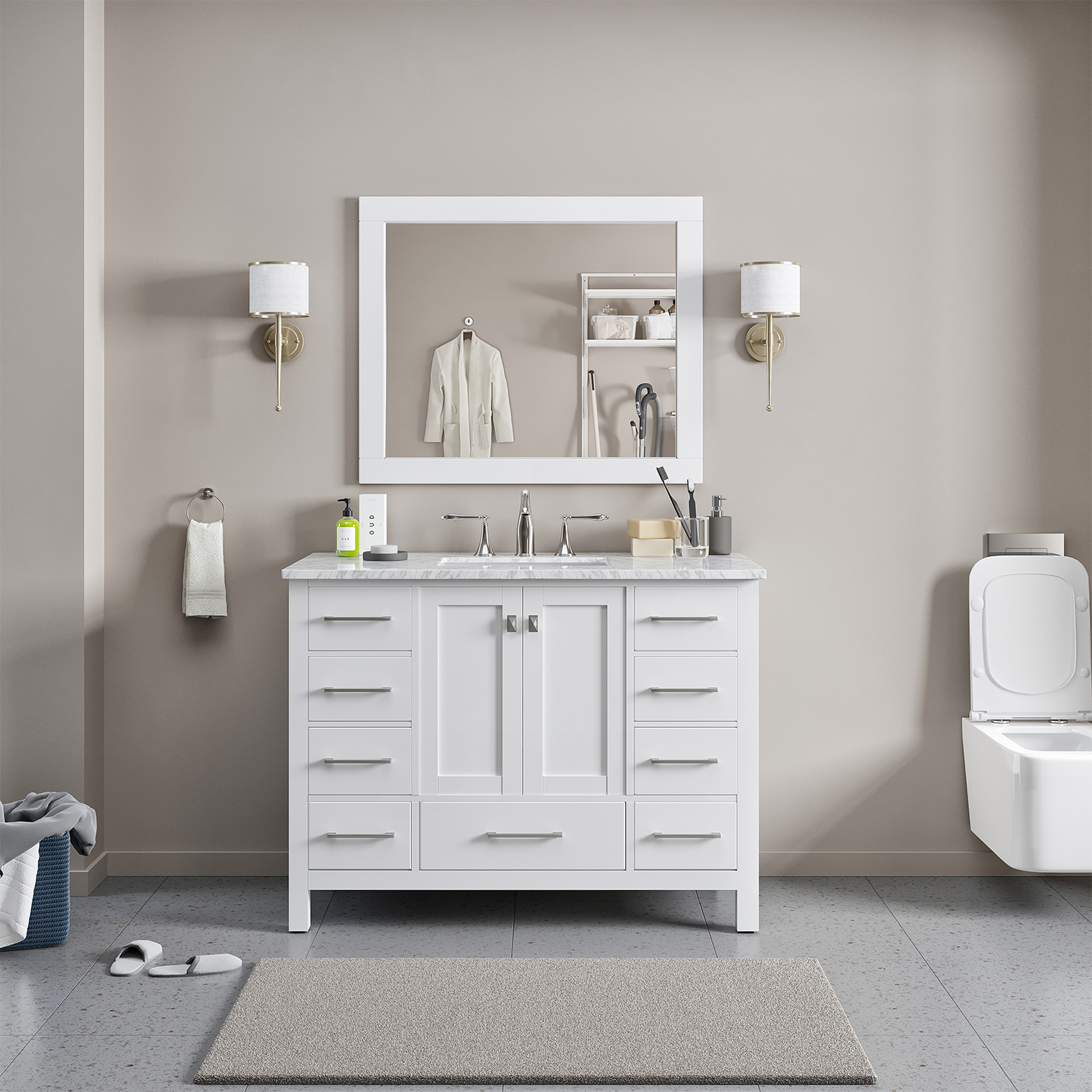 "EVVN412 42WH A Main - Eviva Aberdeen 42"" Transitional White Bathroom Vanity with White Carrera Countertop"