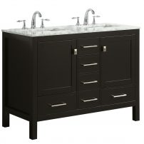 "EVVN412 48ES DS A 01 202x202 - Eviva Aberdeen 48"" Transitional Espresso Bathroom Vanity with White Carrara Countertop and double Sinks"