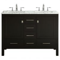 "EVVN412 48ES DS A Main 202x202 - Eviva Aberdeen 48"" Transitional Espresso Bathroom Vanity with White Carrara Countertop and double Sinks"
