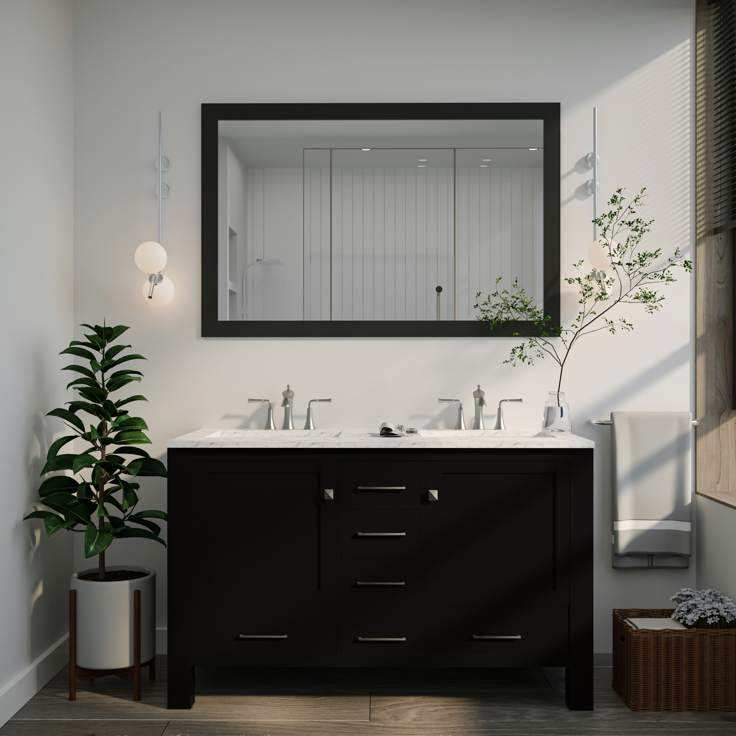 "EVVN412 48ES DS A Main - Eviva Aberdeen 48"" Transitional Espresso Bathroom Vanity with White Carrara Countertop and double Sinks"