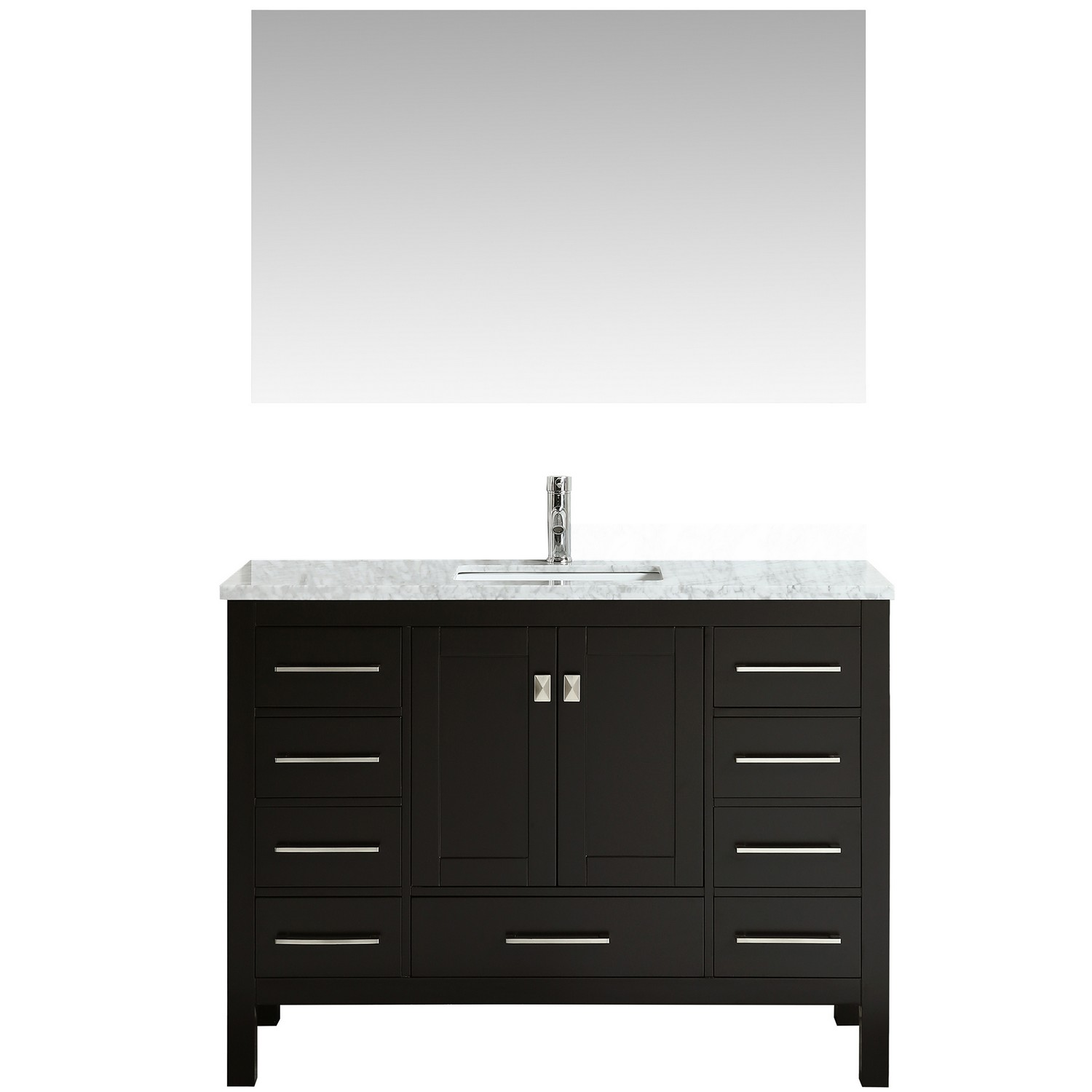 "EVVN412 48ES A Main - Eviva Aberdeen 48"" Transitional Espresso Bathroom Vanity with White Carrera Countertop"