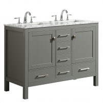 "EVVN412 48GR DS A 01 202x202 - Eviva Aberdeen 48"" Transitional Gray Bathroom Vanity with White Carrara Countertop and double Sinks"