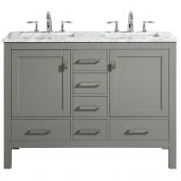 "EVVN412 48GR DS A Main 202x202 - Eviva Aberdeen 48"" Transitional Gray Bathroom Vanity with White Carrara Countertop and double Sinks"