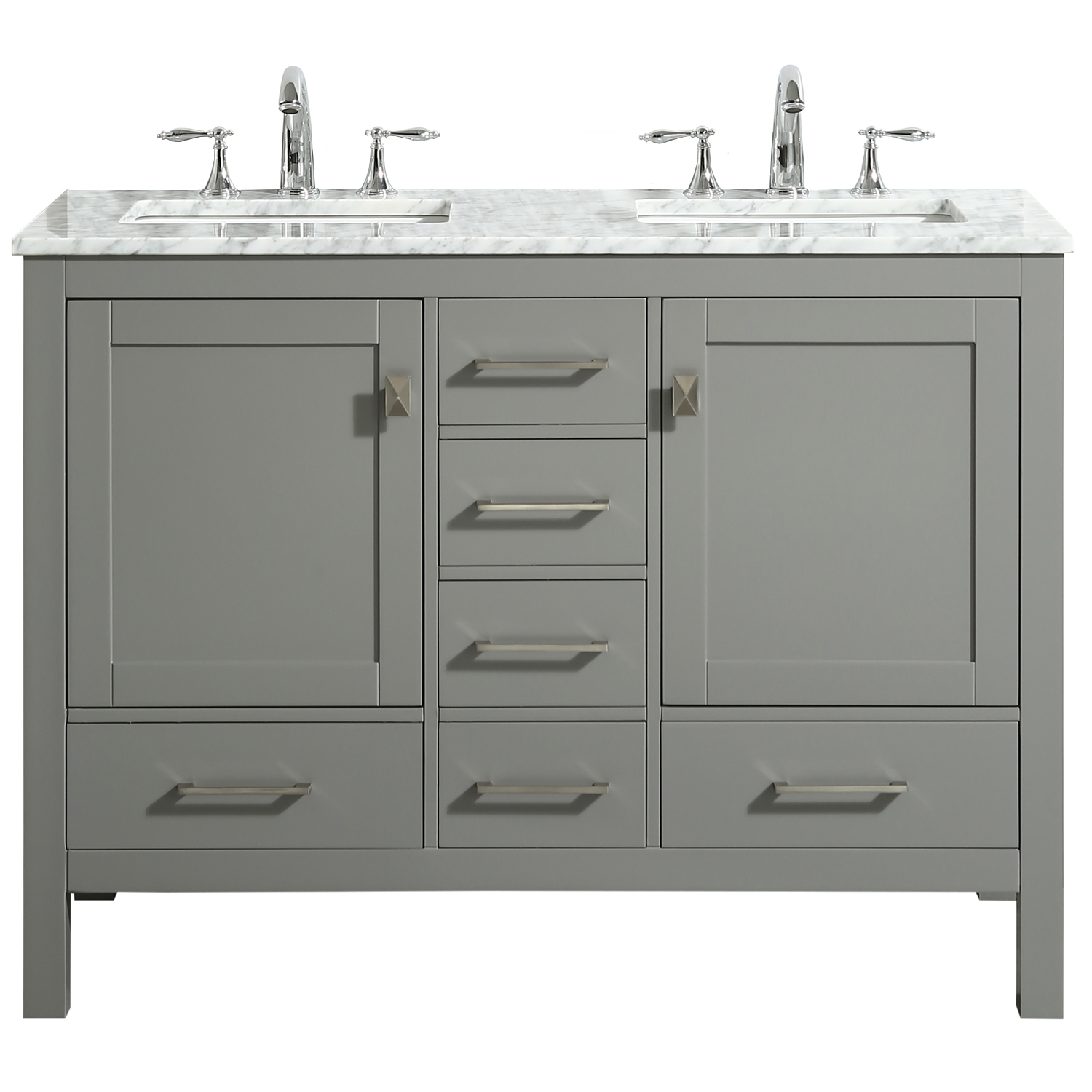 "EVVN412 48GR DS A Main - Eviva Aberdeen 48"" Transitional Gray Bathroom Vanity with White Carrara Countertop and double Sinks"