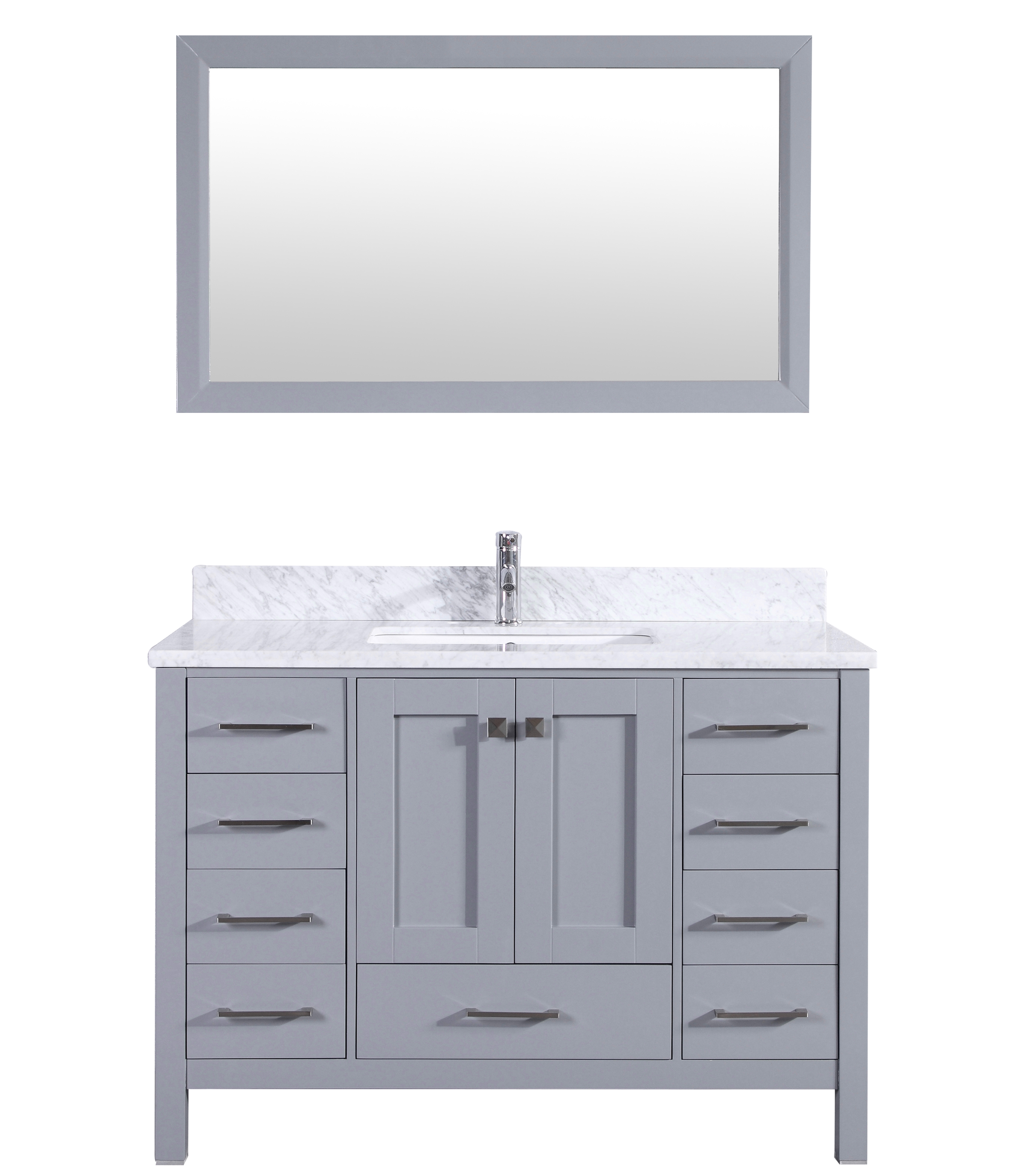 "EVVN412 48GR A Main 1 - Eviva Aberdeen 48"" Transitional Grey Bathroom Vanity with White Carrera Countertop & Square Sink"