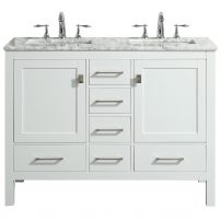 "EVVN412 48WH DS A Main 202x202 - Eviva Aberdeen 48"" Transitional White Bathroom Vanity with White Carrara Countertop and double Sinks"