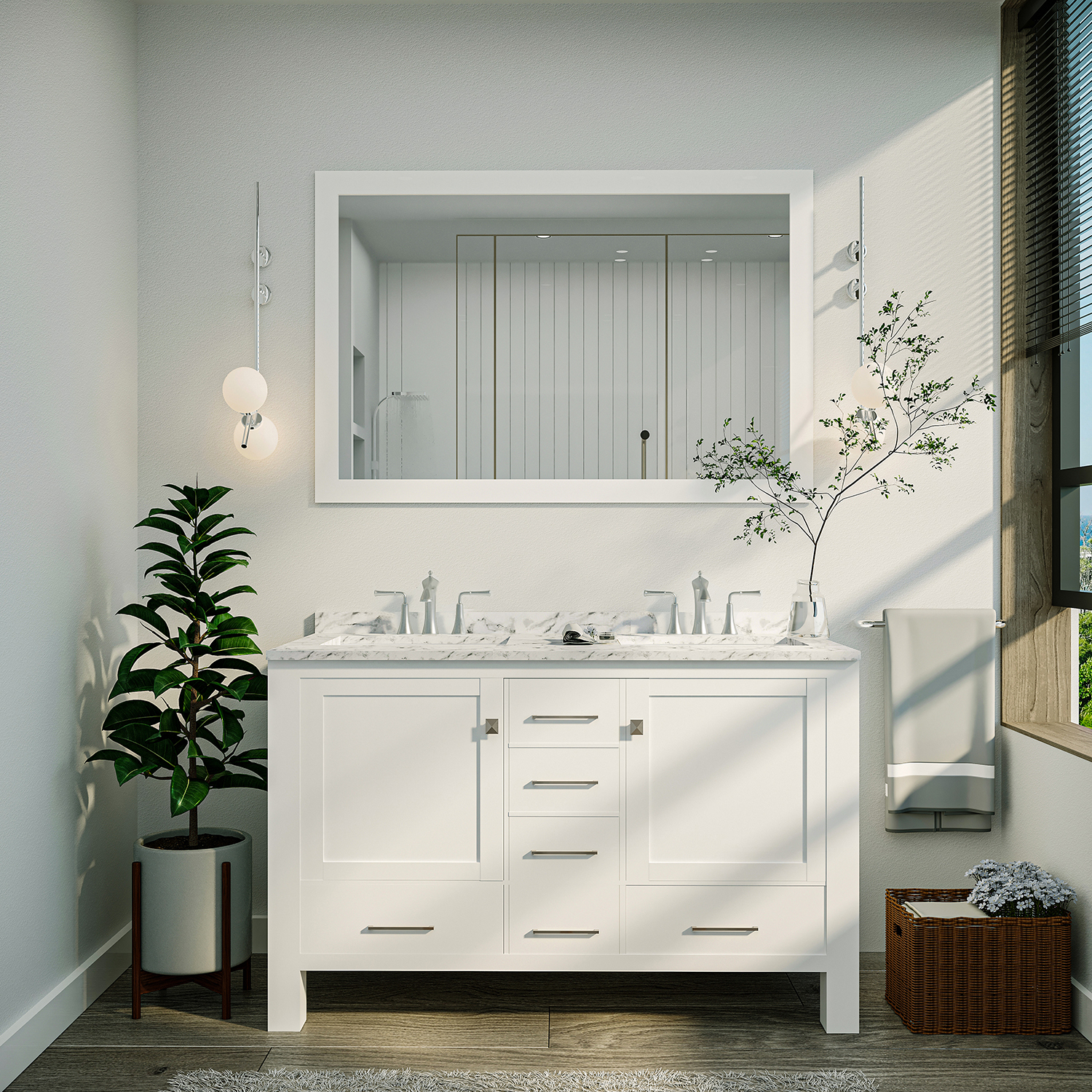 48 Inch Double Sink Vanity Top.Eviva Aberdeen 48 Transitional White Bathroom Vanity With White Carrara Countertop And Double Sinks