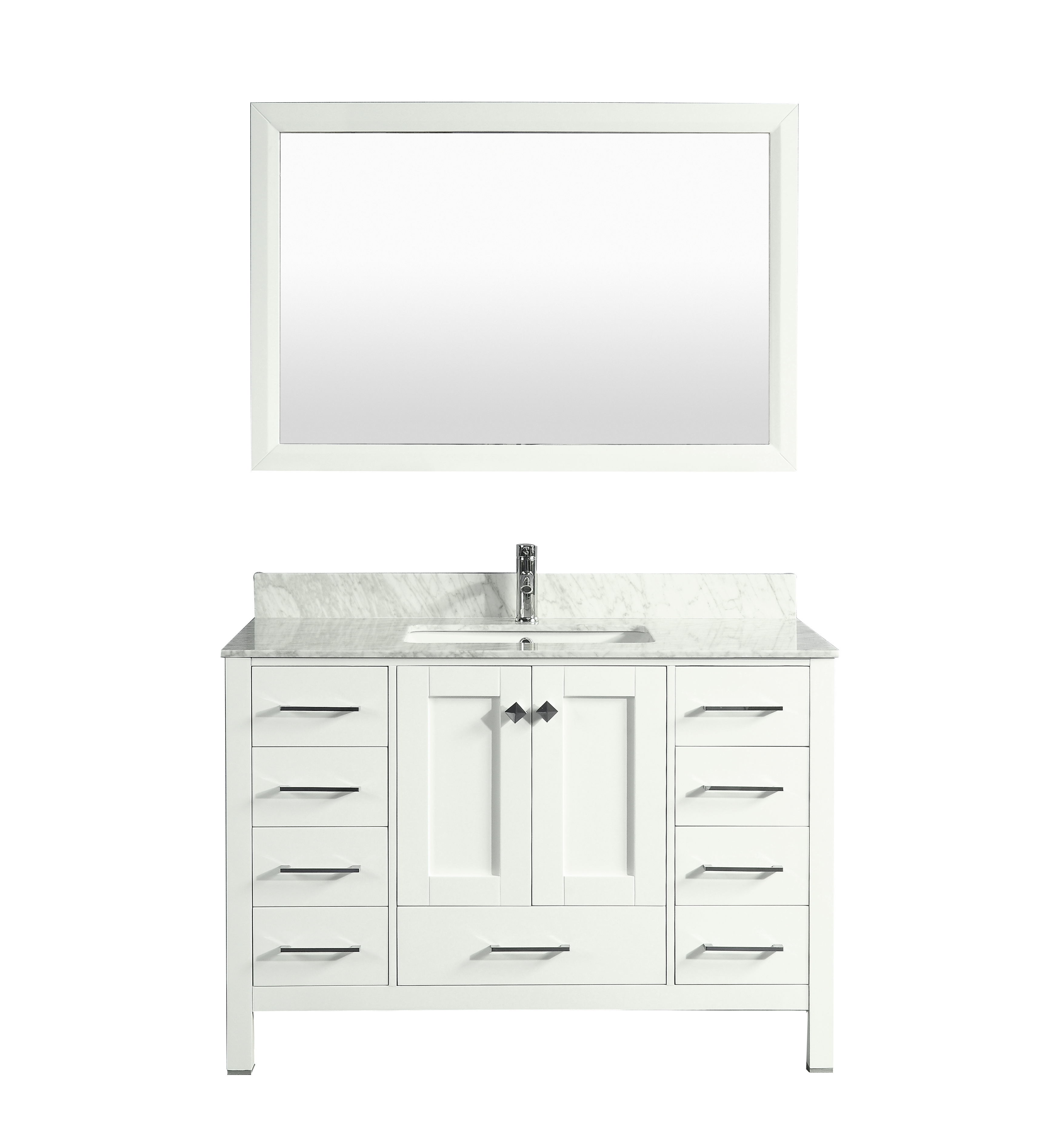 "EVVN412 48WH A Main 1 - Eviva Aberdeen 48"" Transitional White Bathroom Vanity with White Carrera Countertop"