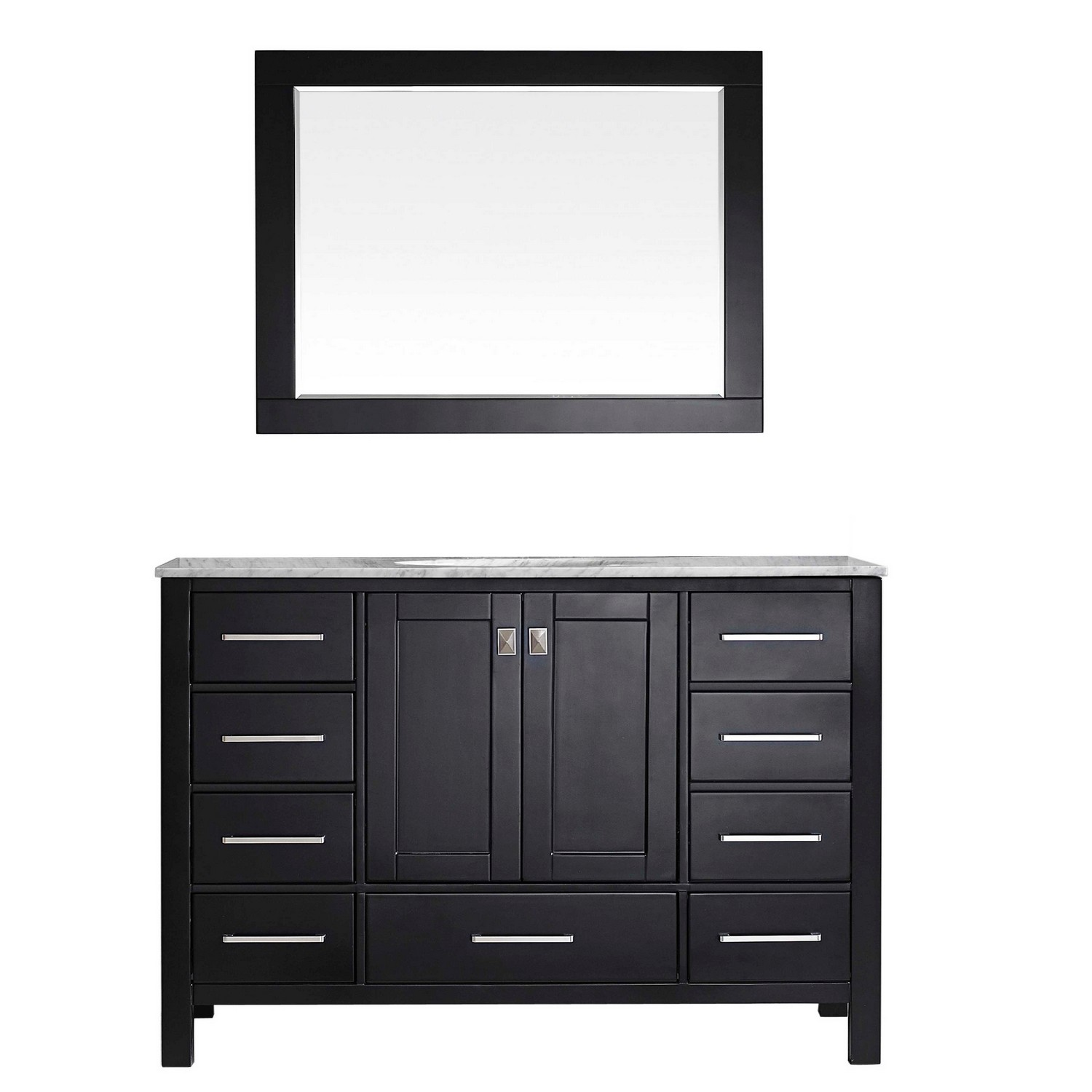"""EVVN412 60ES SS A Main - Eviva Aberdeen 60"""" Transitional Espresso Single Bathroom Vanity with White Carrera Countertop"""