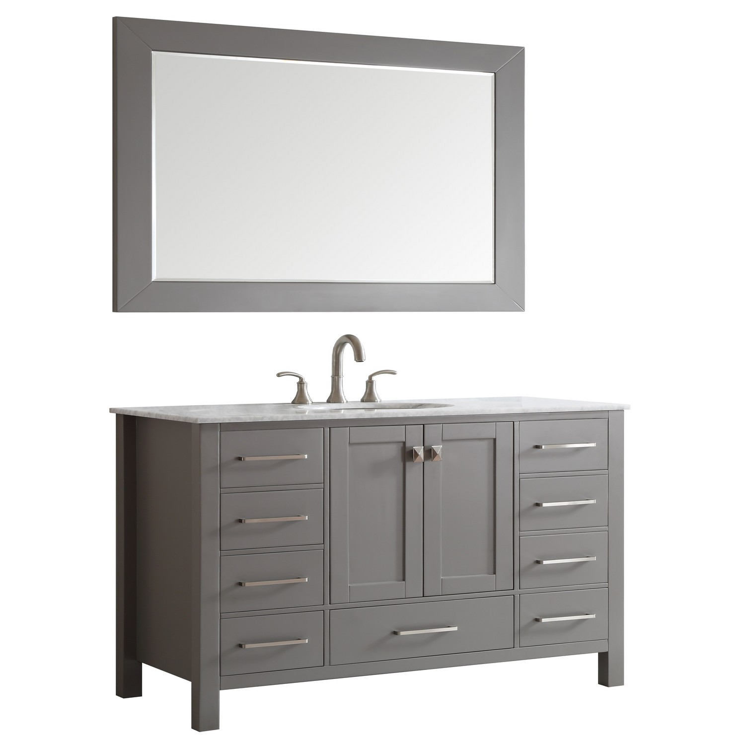 "EVVN412 60GR SS A Main - Eviva Aberdeen 60"" Transitional Grey Single Bathroom Vanity with White Carrera Countertop"