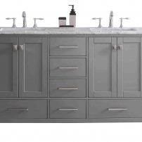 "EVVN412 60GR A Main 202x202 - Eviva Aberdeen 60"" Transitional Grey Bathroom Vanity with White Carrera Countertop & Double Square Sinks"