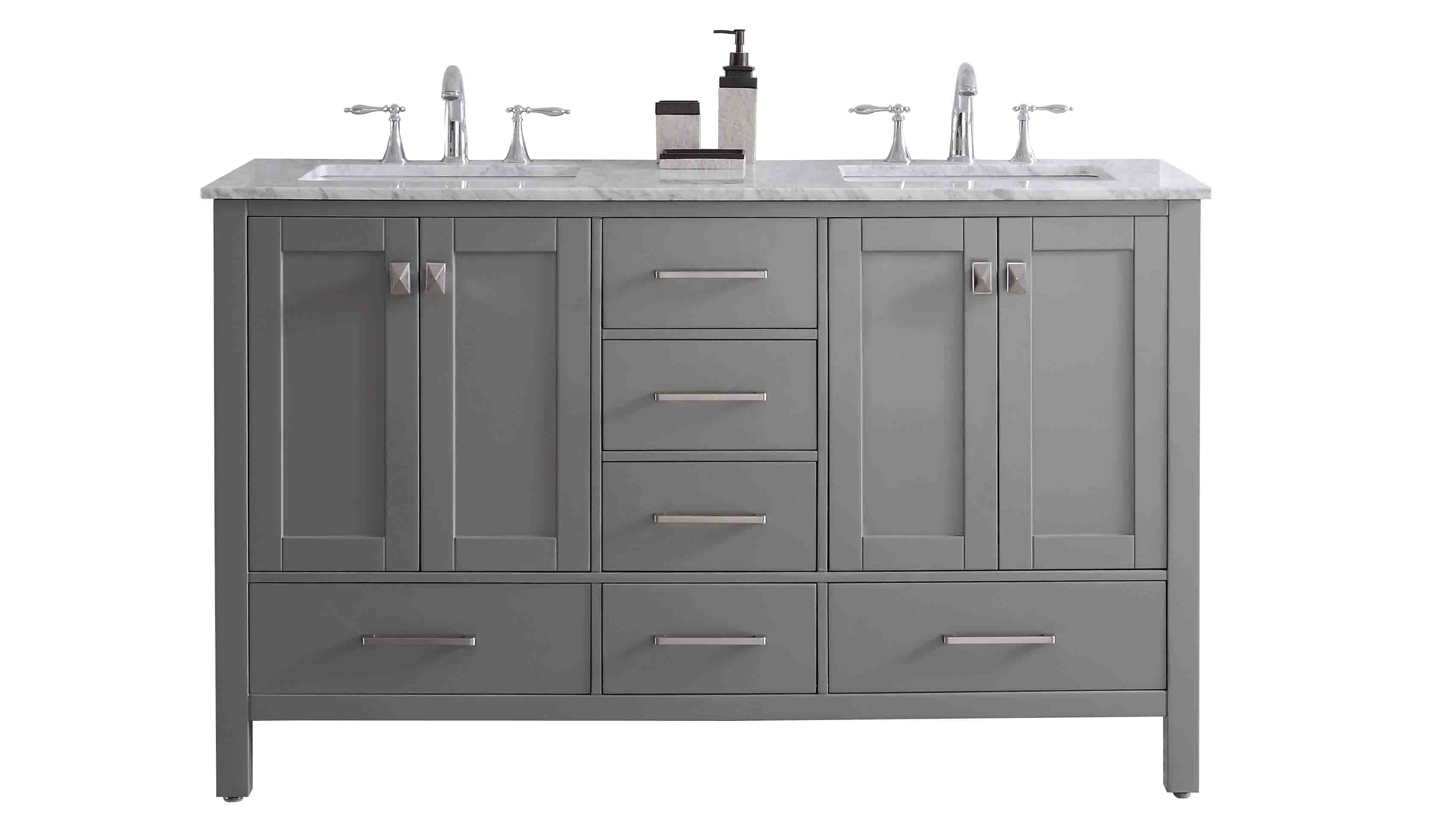 "EVVN412 60GR A Main - Eviva Aberdeen 60"" Transitional Grey Bathroom Vanity with White Carrera Countertop & Double Square Sinks"