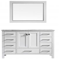 "EVVN412 60WH SS A Main 202x202 - Eviva Aberdeen 60"" Transitional White Single Bathroom Vanity with White Carrera Countertop"