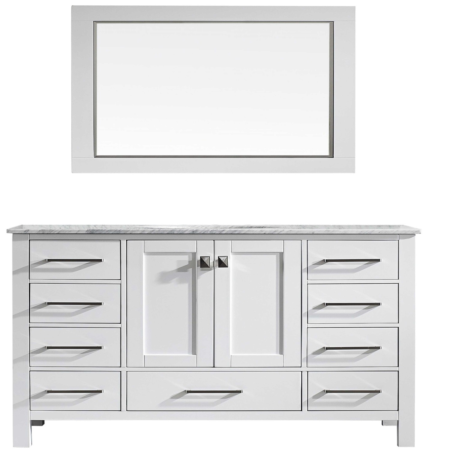 "EVVN412 60WH SS A Main - Eviva Aberdeen 60"" Transitional White Single Bathroom Vanity with White Carrera Countertop"