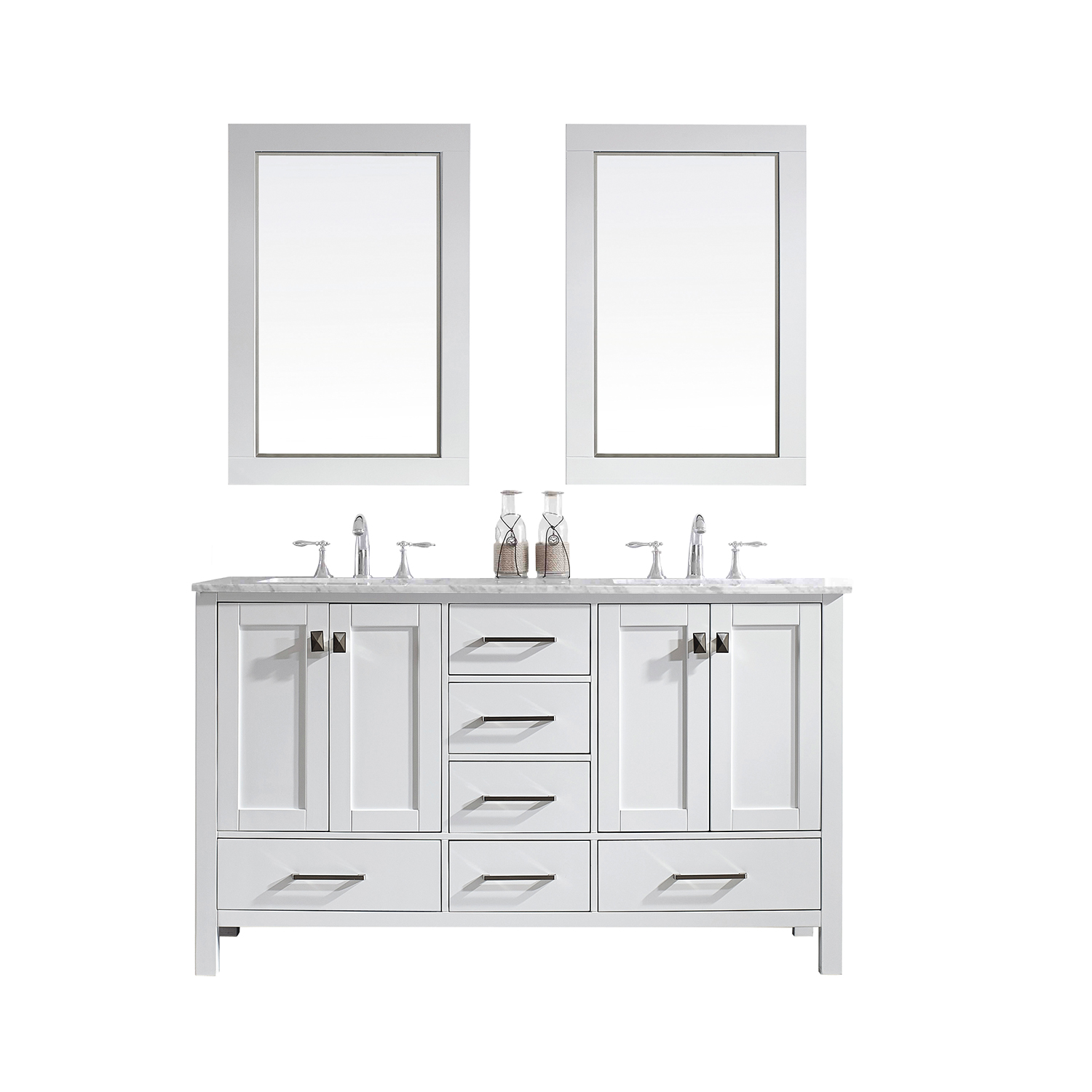 "EVVN412 60WH A Main - Eviva Aberdeen 60"" Transitional White Bathroom Vanity with White Carrera Countertop"