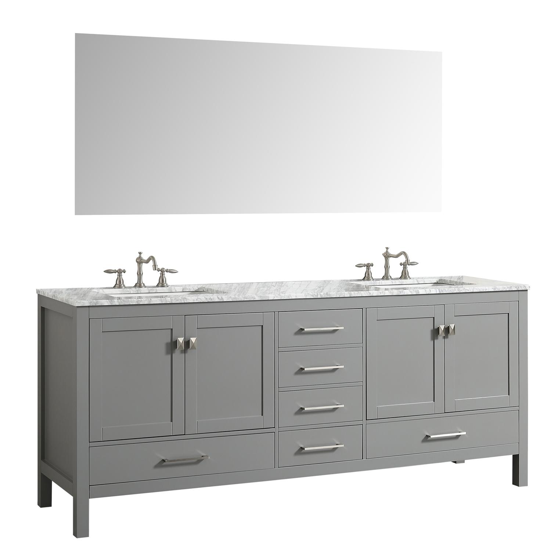 "Eviva Aberdeen 72"" Transitional Grey Bathroom Vanity With"