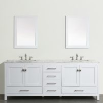 "EVVN412 72WH A Main 202x202 - Eviva Aberdeen 72""  Transitional White Bathroom Vanity with White Carrera Countertop"