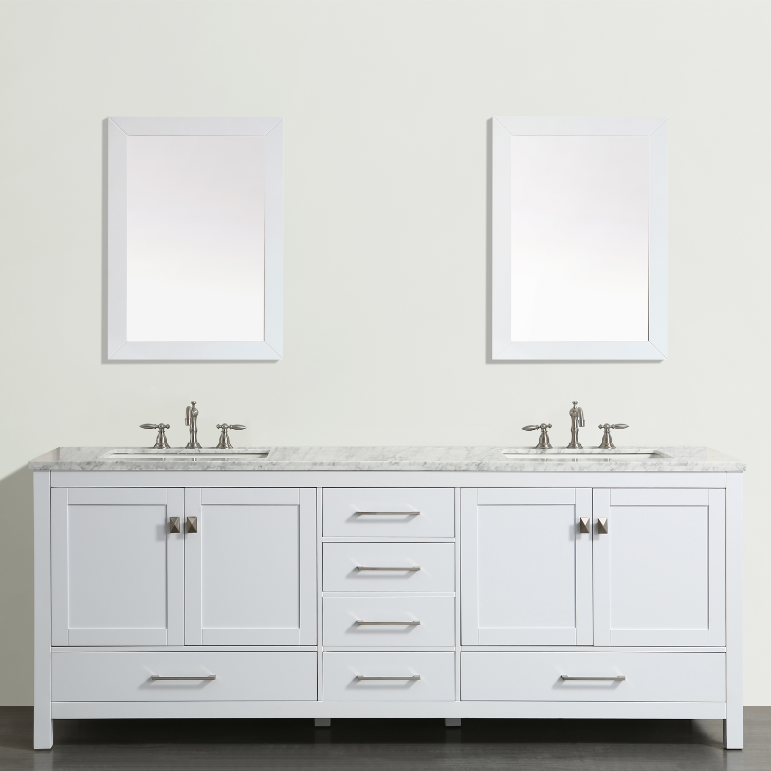 "EVVN412 72WH A Main - Eviva Aberdeen 72""  Transitional White Bathroom Vanity with White Carrera Countertop"