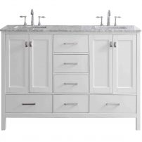 "EVVN412 78WH A Main 202x202 - Eviva Aberdeen 78"" Transitional White Bathroom Vanity with White Carrera Countertop"