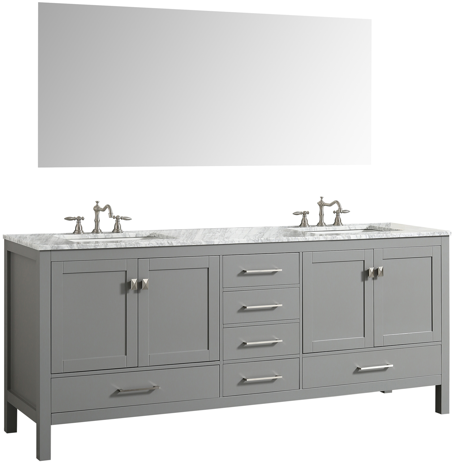 Eviva Aberdeen 84 Transitional Grey Bathroom Vanity With White Carrera Countertop