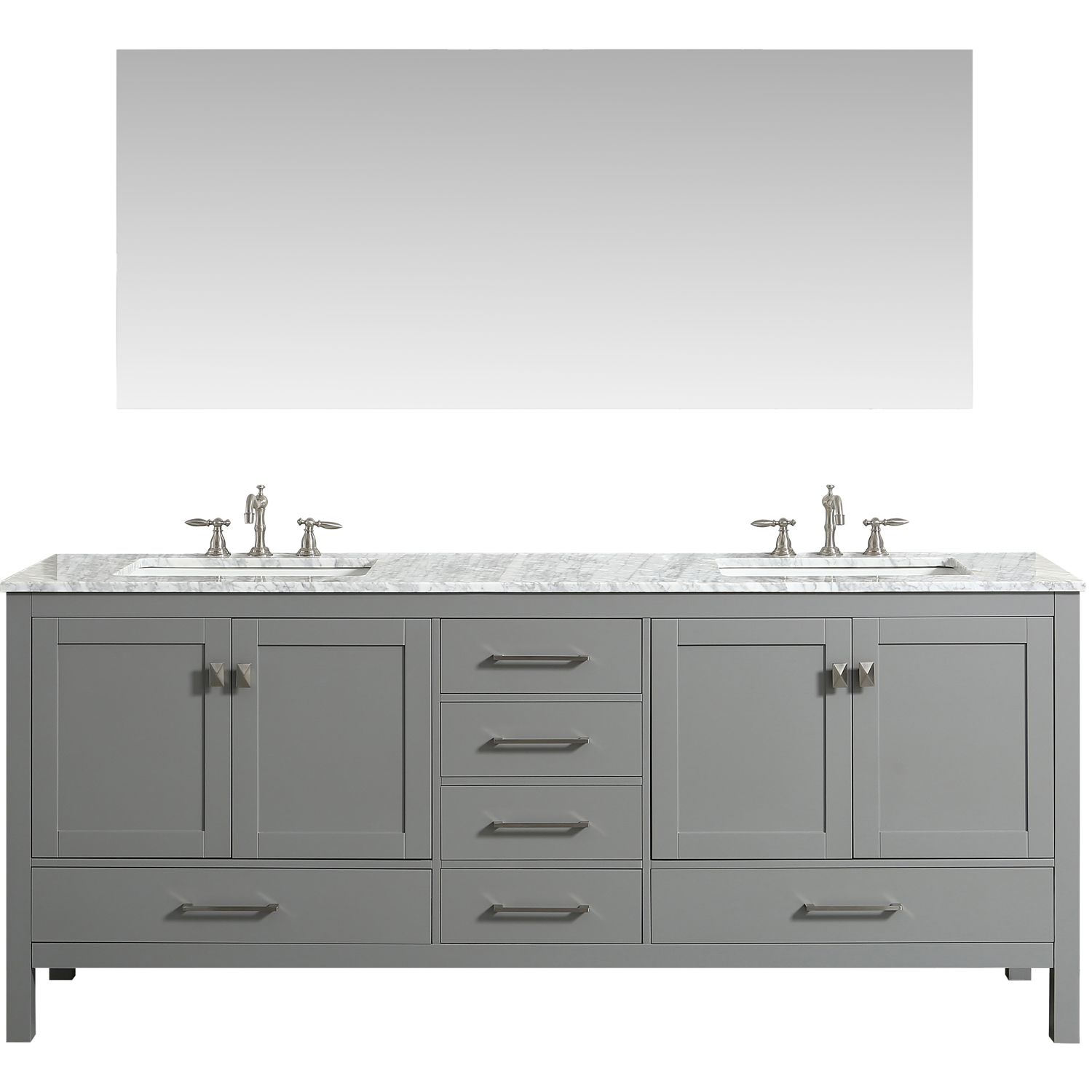 Eviva Aberdeen 84 Inch Grey Transitional Bathroom Vanity
